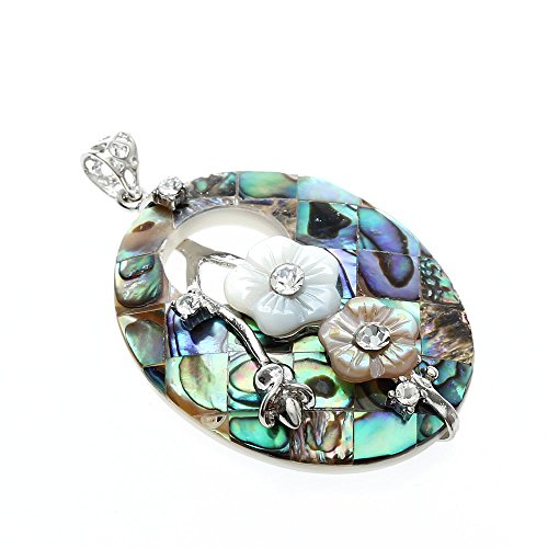 Oval Paua Shell (Ecloud Shop Fashion Oval Flowers Paua Abalone Shell Pendant Bead Chic)