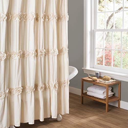 MISC Textures Shower Curtain Floral Ruffle, Neutral Ivory Frills Fabric Bathtub Curtain, 3D Flower Rows Ruffled Design Frilly Feminine Bathroom Decor (Flower Ruffle Curtain Shower)