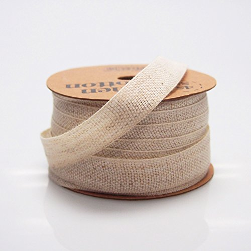Cotton Linen Blend Fabric Ribbon, 5/8-inch, 25-yard (Natural)