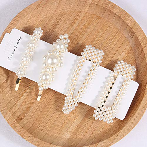4pc Pearls Hair Clips for Women Girls/Clips/Ties for Birthday Valentines Day Gifts Bling Hairpins Headwear Barrette Styling Tools Accessories