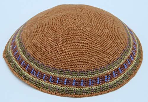 KippaCo Hand Knitted Yarmulke, Knitted Kippah Hat 15.7 cm/6 Inc 068- Hand Knitted Kippah, Kippah. 100% Cotton, Bar Mitzvah Kippah, Wedding Kippah. Best Kippah.