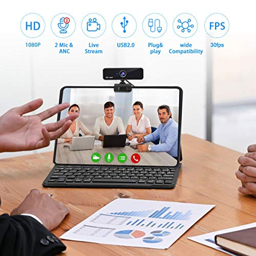 1080P Business Webcam with Dual Microphone, USB FHD Computer Camera for Mac, Desktop, Laptop Zoom Webcam for for Zoom/Skype/Teams Online Teaching, Laptop MAC PC Desktop