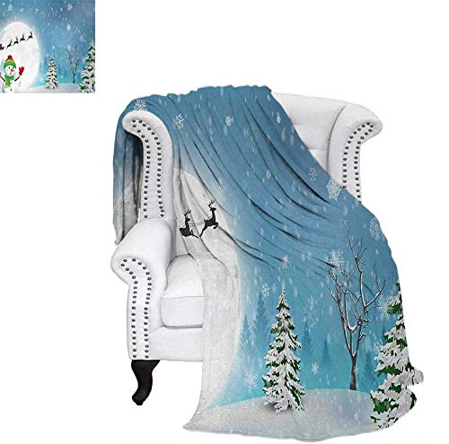 Lightweight Blanket Jolly Snowman Under Full Moon Waving to Santa Claus with Reindeer Sleigh Kids Digital Printing Blanket 50