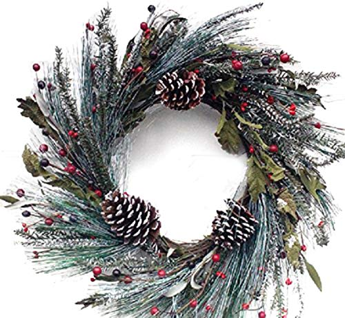 Holiday Wreath - Snowy Morning Winter Door Wreath Handcrafted Assorted Flocked Holiday Greens White Tipped Pine Cones And Red Berries Display This Christmas Wreath The Entire Winter Season