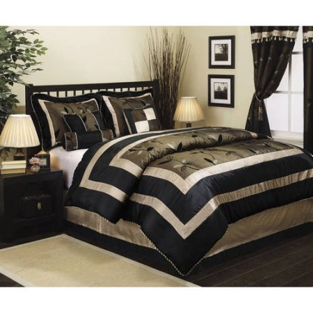 Nanshing Pastora 7-Piece Bedding Comforter Set | 100 Percent Polyester (Queen, Olive/Black) (Accented Piping Trim)