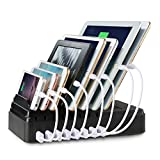 Charging Station, FLECK [2016 Patented Version] 8 USB Ports + 2 AC Outlets Multi-Device Organizer Fast Direct Charging Stand Docking Station For Smartphones and Tablets No Adapter Required (Black)
