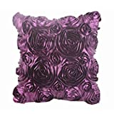 Clearance!Woaills Fashion Floral Decorative Satin Pillow Cover Throw Cushion Case (Purple)