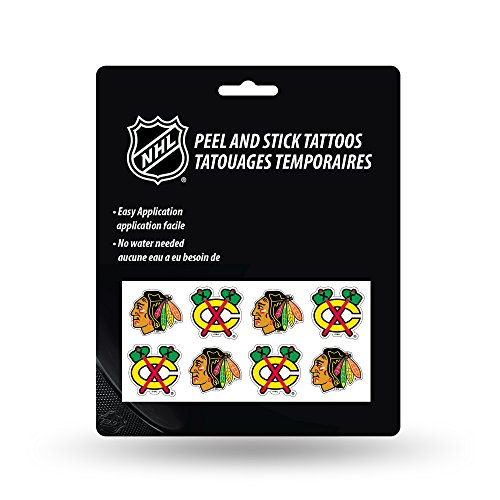 Rico Industries NHL Chicago Blackhawks Face Tattoos, 8-Piece Set -