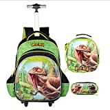 Children's Trolley Bag 3 Pieces,Boys Rolling Backpack Set, 3D Toy Car Wheeled Backpack with Lunch Bag Pencil Case For Girls Boys Elementary Backpacks 2 Wheels Dinosaur