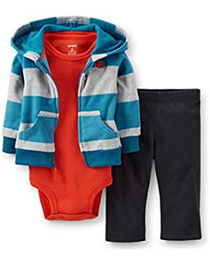 Carters Infant Boy Football Outfit Sweat Pants Creeper Striped Hoodie Jacket