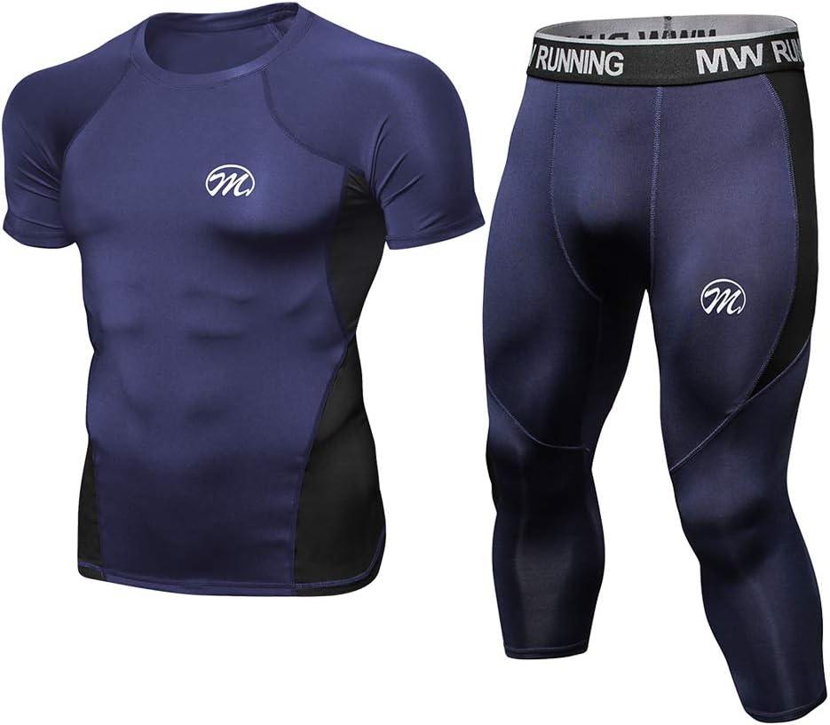 MEETWEE V/êtements de Sport Homme Manches Courtes T-Shirt Compression avec 3//4 Legging/Sport Collant S/échage Rapide pour Jogging Workout Sportswear