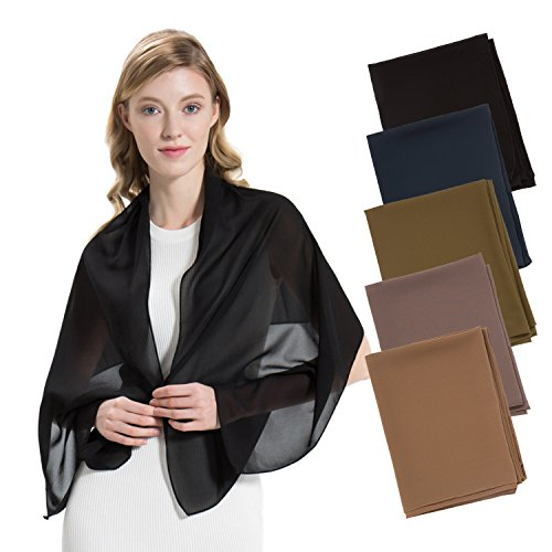 (HBY Scarfs For Women Lightweight Scarves Fashion Summer Spring Shawl Wrap Solid Color - 5 Pack)