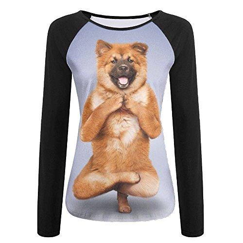 Yoga Dog Women Cool T-Shirt Long Sleeve Baseball Tees