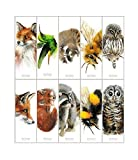 Bookmarks - Set of 10 different bookmarks created from original watercolors. Animal Bookmarks Hummingbird, Fox, Bumble Bee, Owl, Raccoon, Honey Bee.