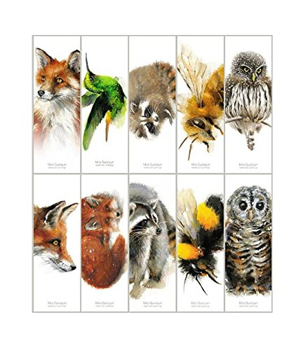 Bookmarks - Set of 10 different bookmarks created from original watercolors. Animal Bookmarks Hummingbird, Fox, Bumble Bee, Owl, Raccoon, Honey Bee. by Mira Guerquin Art