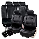 zone tech leather seat cover - Zone Tech Set of Solid Black Leather Seat Covers and Pair of Black Plush Hanging Fuzzy Dice - Universal Fit Classic Black Premium Quality Luxury Interior Décor Pu Set