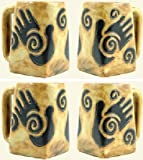 Set Of Four (4) MARA STONEWARE COLLECTION - 12 Oz. Coffee Cups Collectible Square Mugs With Countertop Stackable Mug Post - Healing Hands Design