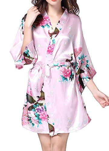 DELEY Mujer Albornoces Kimono Pavo & Flores Satén Pijamas Exóticos Ropa De Dormir Bata Corto Rosa
