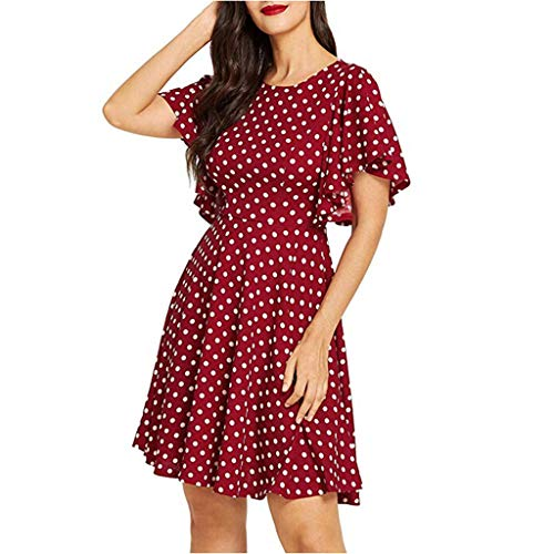 Women's O-Neck Short Flare Sleeve Dress Casual Dot Print Swing Mini Dresses Soft Cocktail Party A Line Sundress