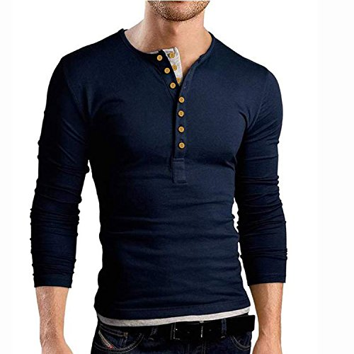 Casual Slim Fit Basic Henley Long Sleeve