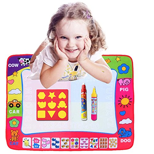 Nice Aqua Doodle Mat, 4 Colored Water Drawing Painting Writing Educational Toy Mat Board + 2 Magic Pen Learning Doodle Gift + Cartoon Seal for Children Baby Toddlers Kids Boys Girls (31.5 X 23.6 Inches)