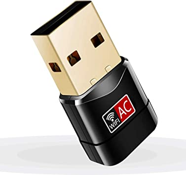Adaptador Antena WiFi USB 600Mbps Mini Receptor 802.11AC con Dual Banda(5GHz 433Mbps/2.4GHz 150Mbps) 5dBi mini Wifi compatibie Windows ...