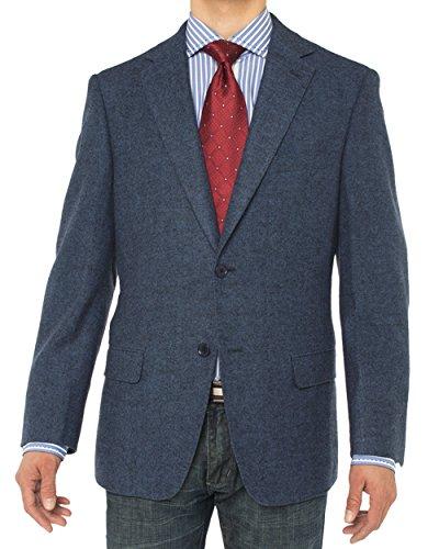(LN LUCIANO NATAZZI Men's Luxurious Camel Hair Blazer Modern Fit Suit Jacket (46 Regular US / 56R EU, French Blue Herringbone))