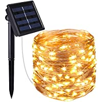 AMIR Solar Powered String Lights, 100 LED Copper Wire...