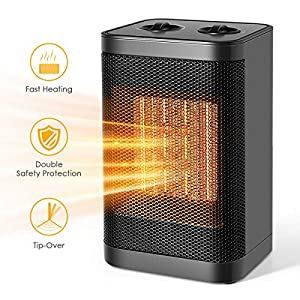 Ceramic Space Heater, 750W/1500W Portable Desk Small Quiet Fast Heating Fan with Adjustable Thermosta for Office Desktop and Home, Electric Heater