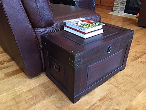 Styled Shopping Newport Medium Wood Storage Trunk Wooden Treasure Chest - Red by Styled Shopping