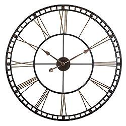 Infinity Instruments Tower XXL Wall Clock 40 inch Open Face Wall Clock Large Metal Clock Quartz Movement Tower Huge Clock (Bronze)