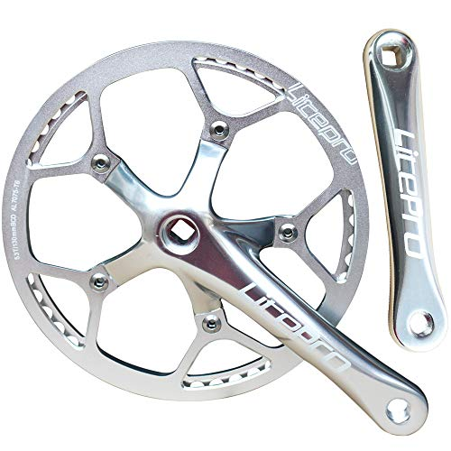 - GANOPPER Single Speed Crankset Set 53T 170mm Crankarms 130 BCD Litepro Folding Bike Crankset with Protective Cover for Single Speed Bike, Track Road Bicycle, Fixed Gear, Fixie, Dahon (53T Silver)