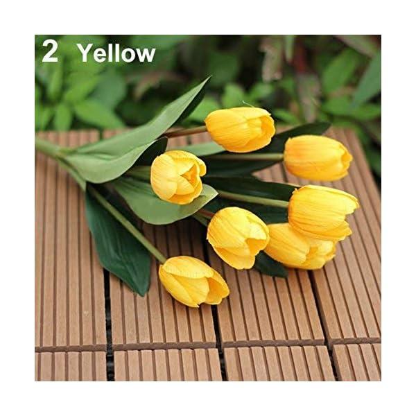 MARJON FlowersPremium Quality Artificial Tulip, 1 Bouquet 9 Heads Fake Tulip Artificial Silk Flower Home Office Wedding Decor Yellow