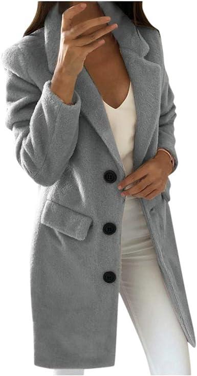 Poachers Abrigos Mujer Invierno Rebajas Desigual Solapa Manga Larga Abrigo de Lana Abrigo Delgada Sudaderas Tumblr largas Chaqueta Mujer Punto c/árdigans para Mujer Abrigos de Mujer