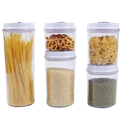 Airtight Seal Storage Contrainer and Canister - 10 pcs Set, Spin & Lock, Dishwasher Safe, Stackable, Acrylic Food Storage Container, BPA-Free (Clear Round Jar, Tinted Lids) Clear Acrylic Canister Set