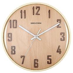 ECVISION Handmade Classic Small Square Silent Table Snooze Zelkova Clock Beech Wood Alarm Clock with nightlight (12H)