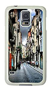 VUTTOO Rugged Samsung Galaxy S5 Case, Narrow Street In Girona Spain Customize Hard Back Case for Samsung Galaxy S5 I9600 PC White