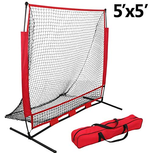 Training Aids Baseball & Softball Practice Net Training Aids W/Carry Bag Portable (5''x5'')