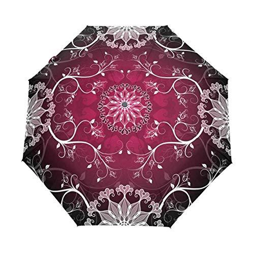 rngysdhj Umbrella,Sun Umbrella Three Folding 3D Floral Umbrella Women Sun Rain Automatic Windproof Umbrella Women Sunscreen Anti UV Umbrellas