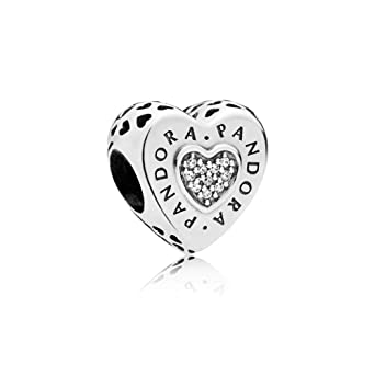 1d651c43e Image Unavailable. Image not available for. Color: Pandora Logo Silver  Heart Charm with Clear Cubic Zirconia797375CZ