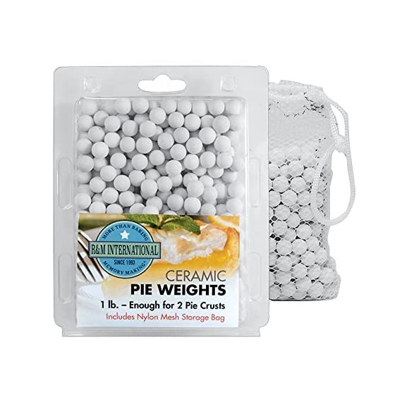 R & M International Group, us kitchen, RMINA R & M 2723 More Than One Pound of Pie Weights 1 1-1/4-pound of ceramic pie weights Includes enough pie weights for 2 pie shells Pie weights are reusable and can be stored in clam shell package