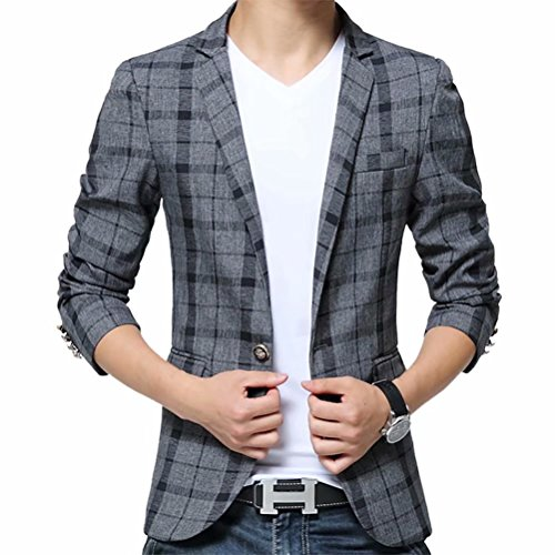 Men's Blazer Jacket Plaid Slim Fit Sport Coat One Button Notch Lapel Casual Business Coat Single Breasted Outwear by SUSIELADY (Image #6)