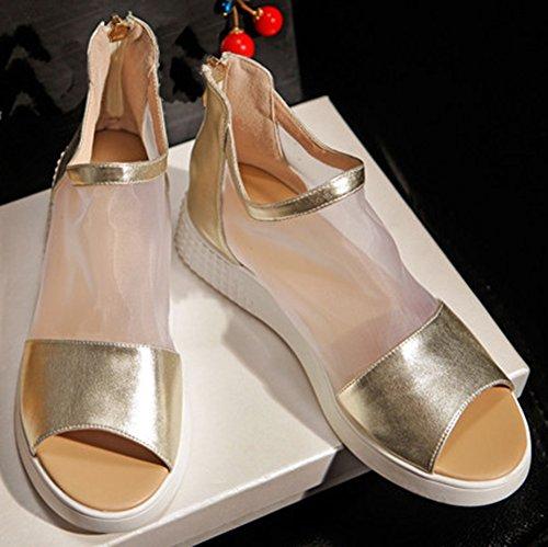 Easemax Dames Trendy Peep Toe Hoge Top Mesh Platform Schoenen Gladiator Sandalen Goud Goud