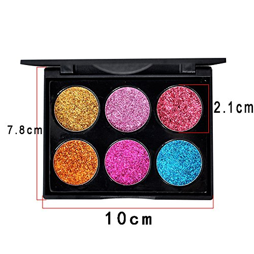 Haluoo Professional Eyeshadow Palette Makeup 6 Colors Shimmer,High Pigmented Long Lasting Multi Reflective Shimmer Glitter Pressed Pearls Eye Shadow Makeup Pallet Smoky Cosmetic Eyeshadows (A)
