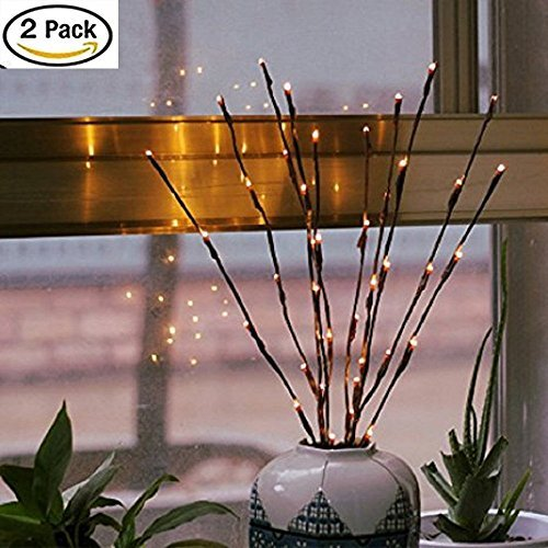 Bellier Lighted Tree Branches-2PCS Branch Lights LED Lighted Branches 20 LED Lights 20 Inch Willow Twig Lighted Branch for Home Decoration Warm White Battery Powered Decorative Lights
