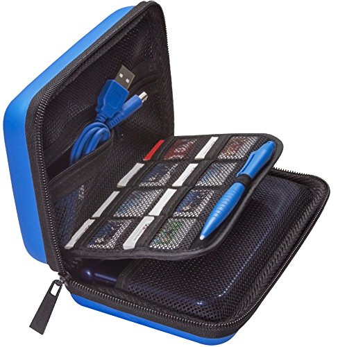 ButterFox New Nintendo 2DS XL Case, 3DS XL, 3DS Case with charger cable and large stylus, 16 game cartridge holder - Blue