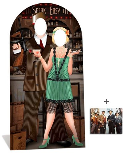 Fan Pack - Roaring 1920s Speakeasy Lifesize Cardboard Cutout / Standee - Gangsters and Molls - Includes 8x10 (20x25cm) Star (Speakeasy Roaring 20s)