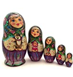 Unique Russian Nesting dolls w/Teddybear Hand Carved Hand Painted 5 piece set 7.25'' Tall Girl with a puppy