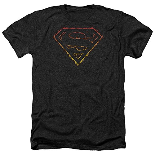 Superman Flame Outlined Logo Mens Heather Shirt Black - Shirt Logo Flame Superman