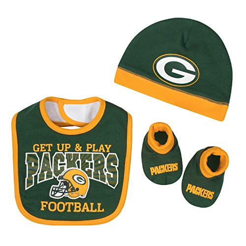 NFL Green Bay Packers Unisex-Baby Cap, Bootie & Bib Set, Green, 0-6 Months